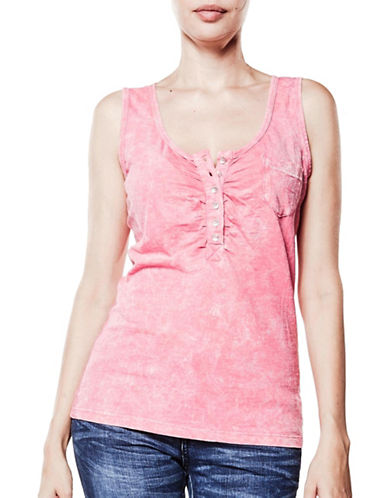 Foxy Jeans Henley Tank Top-PINK-Small