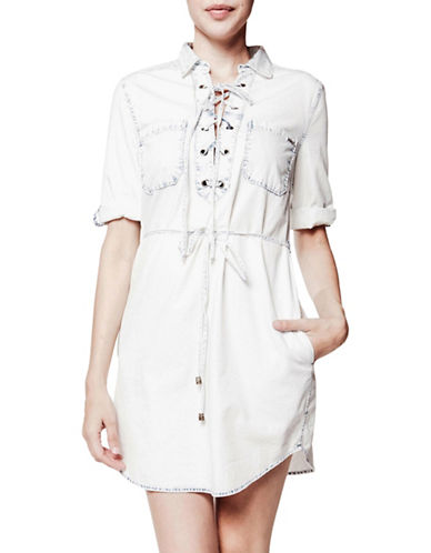 Foxy Jeans Laced Shirt Dress-ACID WASH-X-Large