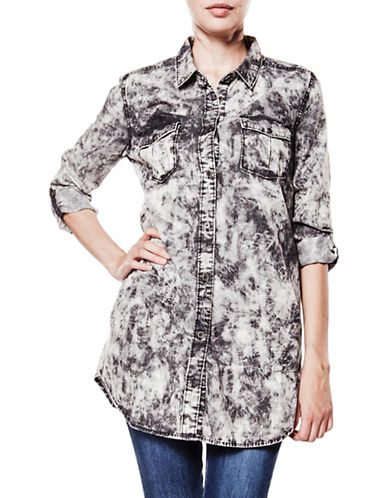 Foxy Jeans Denim Tunic Shirt-BLACK ACID-Large