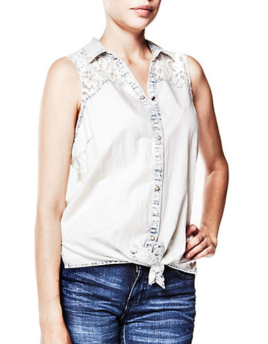 Foxy Jeans Laced Sleeveless Top-ACID WASH-X-Large