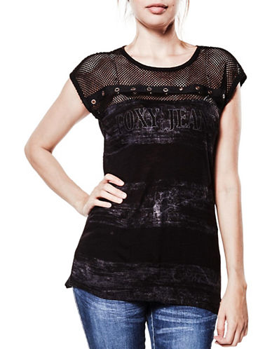 Foxy Jeans Mesh and Eyelet Top-BLACK-Small 89320659_BLACK_Small