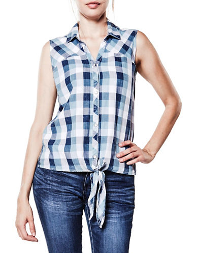 Foxy Jeans Plaid Tie-Front Shirt-INDIGO-Small