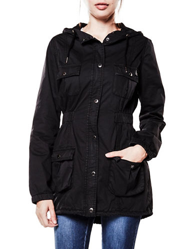 Foxy Jeans Garment Dyed Zip-Front Anorak-BLACK-X-Large
