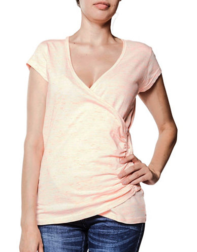 Foxy Jeans Crossover Wrap Jersey Top-CORAL-Large