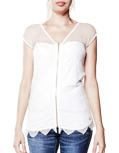 Foxy Jeans Lace Overlay Top-WHITE-Large
