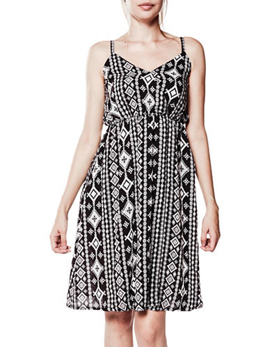 Foxy Jeans Sleeveless Geometric-Print Dress-BLACK MULTI-Large