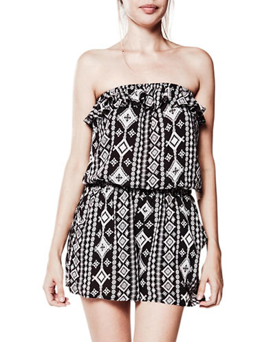 Foxy Jeans Ruffled Geometric-Print Romper-BLACK-Medium