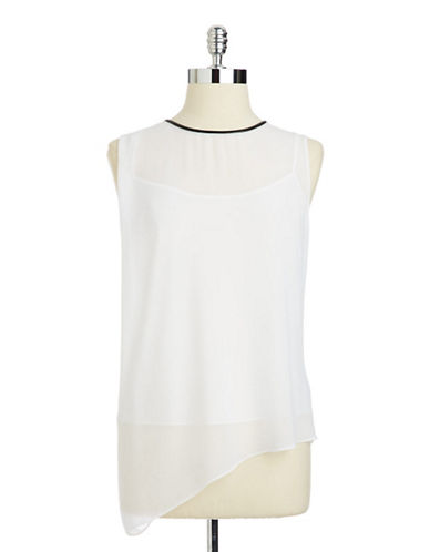 Dknyc Asymmetric Sleeveless Top white XLarge