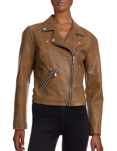 Design Lab Lord & Taylor Washed Faux Leather Moto Jacket-BROWN-Large 88609178_BROWN_Large