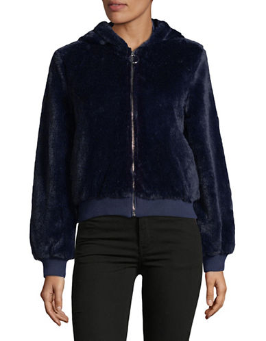 Design Lab Lord & Taylor Zip Front Faux Fur Bomber Jacket-NAVY-Small