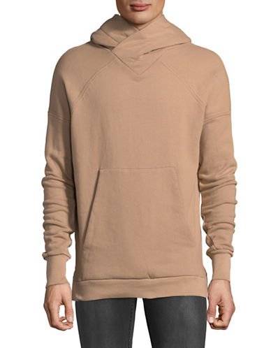 Kollar Dropped Shoulder Crossed Neck Cotton Hoodie-TAN-X-Large