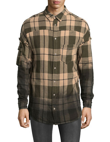 Kollar Plaid Ombre Cotton Sport Shirt-BEIGE-X-Large