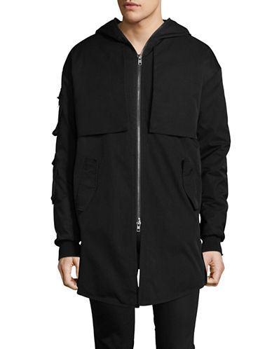 Kollar Asymmetrical Zip Parka-BLACK-X-Large