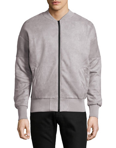 Kollar Faux Suede Moto Jacket-GREY-Medium