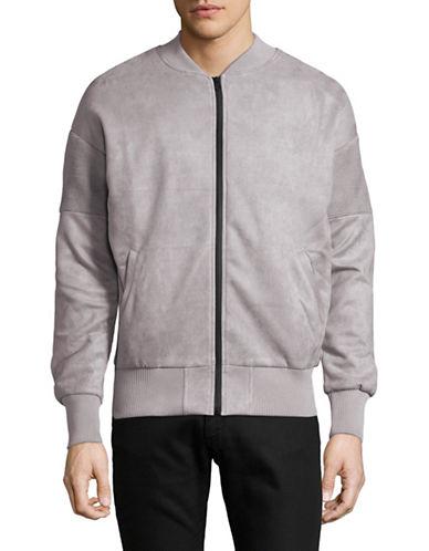 Kollar Faux Suede Moto Jacket-GREY-Large