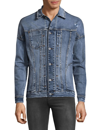 Kollar Distressed Denim Jacket-BLUE-X-Large 89400846_BLUE_X-Large
