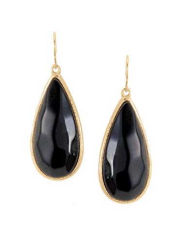 Alex Fraga 18K Gold Dipped Onyx Earrings-BLACK-One Size