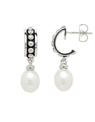 Honora Style Freshwater Pearl Drop Stud Earrings-WHITE-One Size