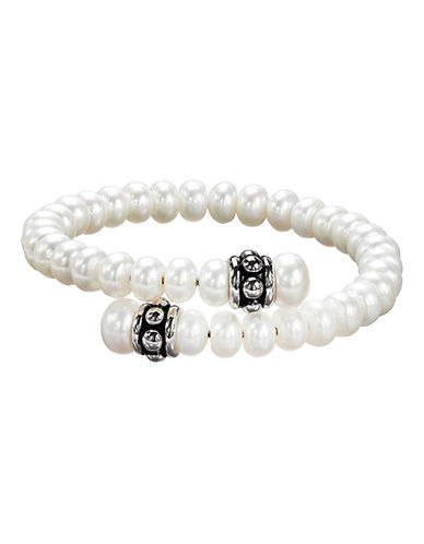 Honora Style Sterling Silver 7 to 8.5mm White Freshwater Cultured Pearl Pallini Coil Bracelet-WHITE-One Size