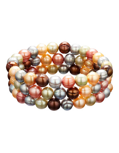 Honora Style Set of 3 Gelato Ringed Cultured Pearl Stretch Bracelets-MULTI COLOURED-One Size