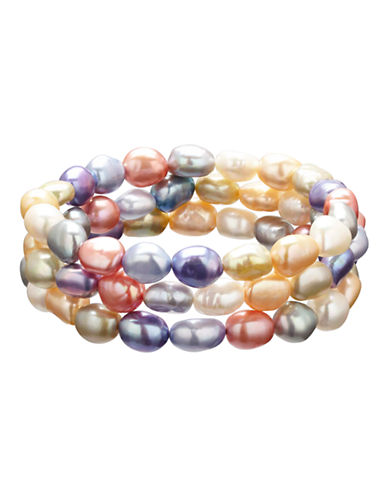 Honora Style Set of 3 Wildflower Baroque Cultured Pearl Stretch Bracelets-MULTI COLOURED-One Size