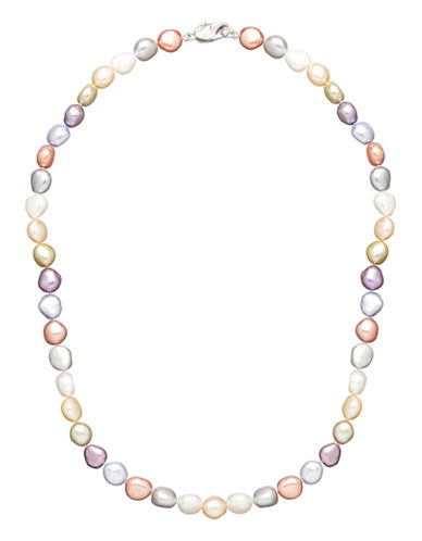 Honora Style Sterling Silver Wildflower Baroque Pearl Neckalce-MULTI COLOURED-One Size