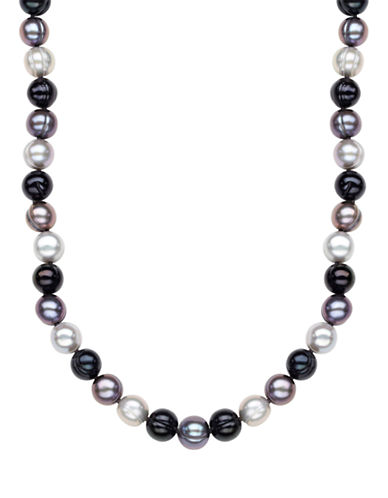 Honora Style Black Tie Ringed Cultured Pearl Strand Necklace-GREY-One Size