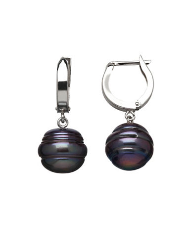 Honora Style Sterling Silver Ringed Pearl Earrings-BLACK-One Size