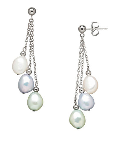 Honora Style Sterling Silver Halo Baroque Pearl Drop Earrings-LIGHT BLUE-One Size