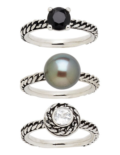 Honora Style Variegated Sterling Silver Ring Set 3-BLACK-7 86935109_BLACK_7