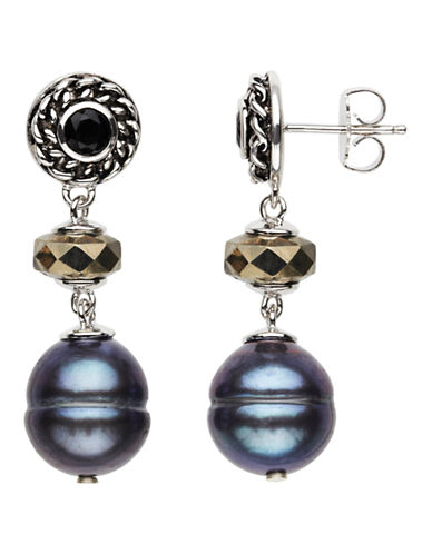 Honora Style Black Pearl and Onyx Drop Earrings-BLACK-One Size