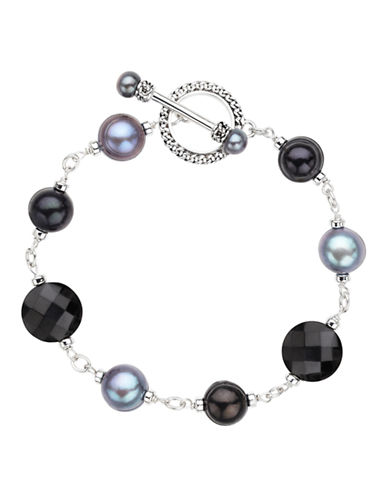 Honora Style Sterling Silver 5 to 10mm Black and Jet Freshwater Cultured Pearl Bracelet-BLACK-One Size