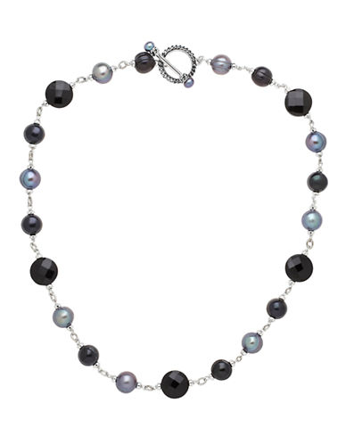 Honora Style Bead and 5 to 10MM Freshwater Pearl Necklace-BLACK-One Size