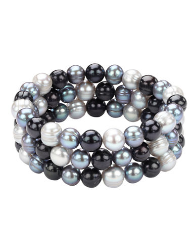 Honora Style Multi Tone Pearl Bracelet Set  3-BLACK-One Size
