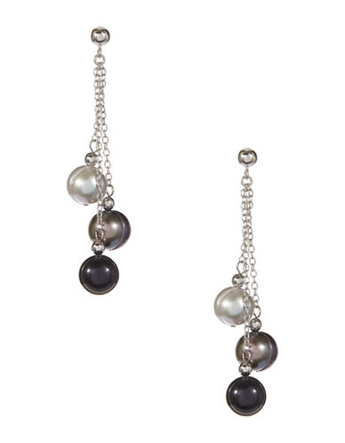 Honora Style Tri Tone Freshwater Pearl Drop Earrings-BLACK-One Size