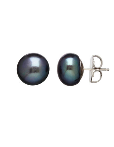 Honora Style Sterling Silver Black Cultured Pearl Button Earrings-BLACK-One Size
