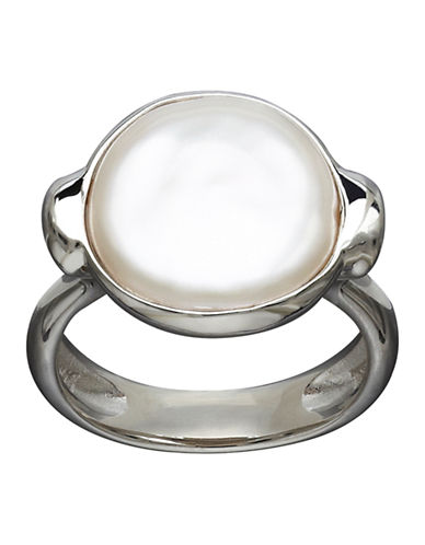 Honora Style Sterling Silver and Freshwater Coin Pearl Ring-WHITE-7