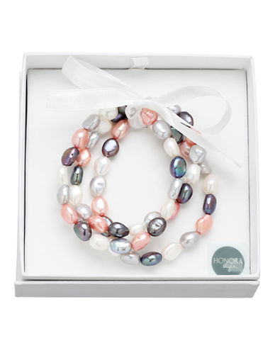Honora Style Set of Three 8MM-9MM Baroque Pearl Pink Tuxedo Stretch Bracelets-MUTLI COLOURED-One Size