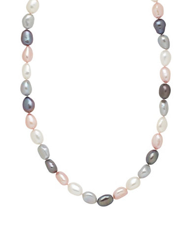 Honora Style Sterling Silver Pink Tuxedo Baroque Pearl Necklace-MULTI COLOURED-One Size