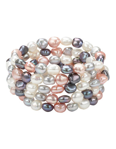 Honora Style Multi Tone Pearl Bracelet Set  5-PINK-One Size