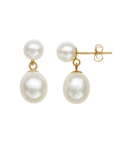 Honora Style 7MM-9MM Oval Pearl and 14K Yellow Gold Drop Earrings-WHITE-One Size