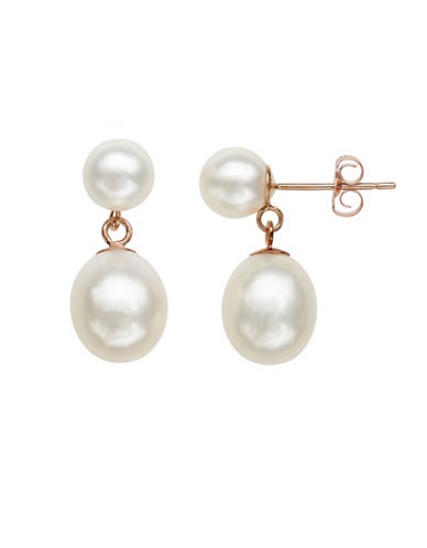 Honora Style 7MM-9MM Oval Pearl and 14K Rose Gold Drop Earrings-WHITE-One Size