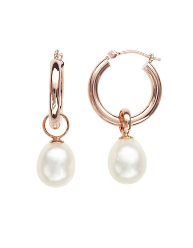 Honora Style 8MM-9MM Pearl and 14K Rose Gold Hoop Drop Earrings-WHITE-One Size