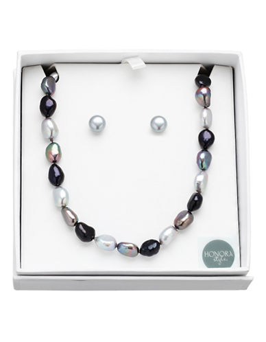 Honora Style 8MM-9MM Black Tie Pearl Earrings and Necklace Set-MULTI COLOURED-One Size