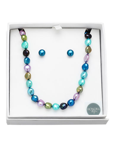 Honora Style 8MM-9MM Peacock Pearl Earrings and Necklace Set-MULTI COLOURED-One Size
