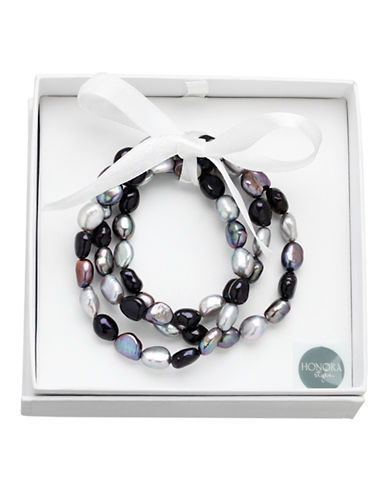 Honora Style Set of Three 8MM-9MM Baroque Pearl Black Tie Stretch Bracelets-PEARL-One Size