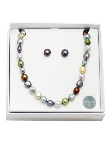 Honora Style Freshwater Pearl Necklace and Earrings Set-DARK MULTI-One Size