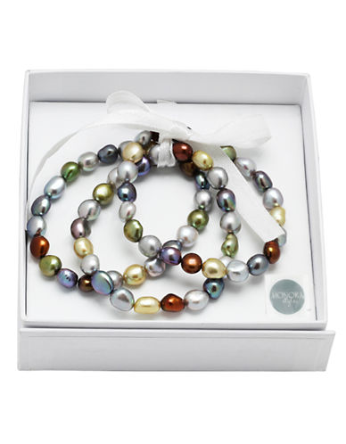 Honora Style Three-Piece Black Freshwater Pearl Stacked Bracelets-DARK MULTI-One Size