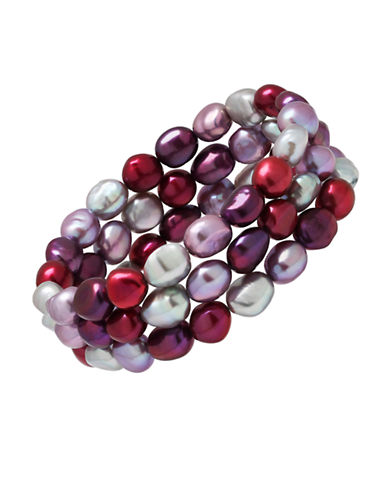 Honora Style Three-Piece Purple Freshwater Pearl Stacked Bracelet-PURPLE-One Size