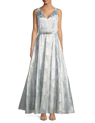 Eliza J Floral V-Neck Ball Gown 89924180